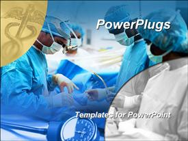 PowerPoint template displaying medical surgical team performing surgery operation, hospital, caduceus medical symbol