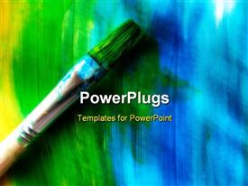 PowerPoint template displaying paintbrush on painted background