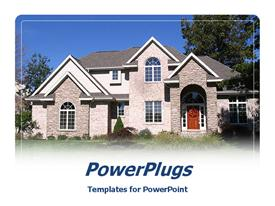 PowerPoint template displaying large house with brick siding and gabled roof