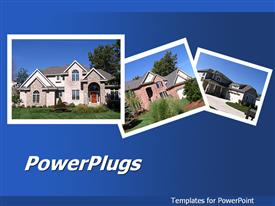 PowerPoint template displaying collage of beautiful houses on blue background