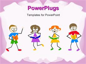 PowerPoint template displaying little kids dancing and reading book on white background with pink frames