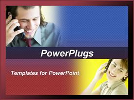 PowerPoint template displaying depictions of a man and a woman talking on the phone blend into blue and red background