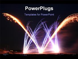 PowerPoint template displaying night time view of lots of sparking celebration fireworks
