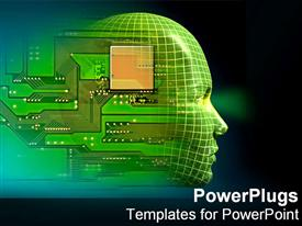PowerPoint template displaying computerized human head immersed in technology in the background.