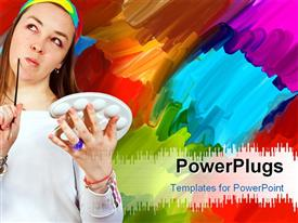 PowerPoint template displaying artist thinking of ideas in front of her painting