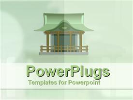 Japanese house in jade green powerpoint design layout