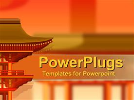 PowerPoint template displaying oriental reds and oranges with architecture