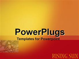 PowerPoint template displaying plain red and yellow background block with rising sun text