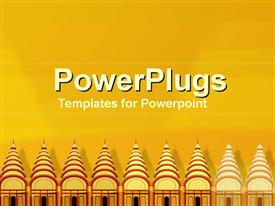 PowerPoint template displaying row of temples in the background.