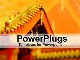PowerPoint template displaying oriental architecture depicting oriental styled roof corner with golden roof