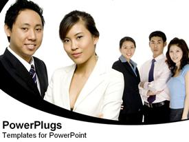 PowerPoint template displaying five adult Asian males and females standing with white background