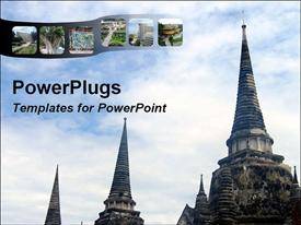 PowerPoint template displaying old temples in Thailand with cloudy sky