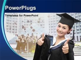 PowerPoint template displaying asian graduate with big thumb