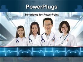 PowerPoint template displaying four doctors stethoscopes standing side side smiling