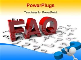 PowerPoint template displaying the representation of FAQ with yellowish background