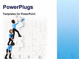 PowerPoint template displaying a team of three people trying to solve a jigsaw puzzle