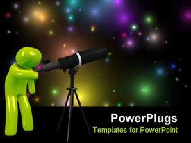 PowerPoint template displaying a green 3d human figure looking through a telescope