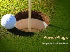 PowerPoint template displaying golf ball at the rim of cup in the background.