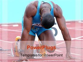 PowerPoint template displaying athlete in position on track ready to start race