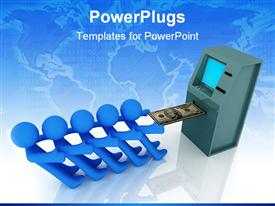 PowerPoint template displaying five blue 3D figures working together to pull out money bill from ATM machine
