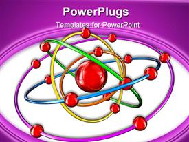 PowerPoint template displaying atom with rotating around electrons
