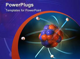 PowerPoint template displaying atom structure. cg depiction in the background.
