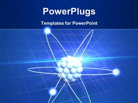 PowerPoint template displaying electrons orbiting a nucleus