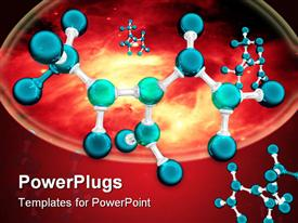 PowerPoint template displaying graphic representation of an atom or molecule in the background.