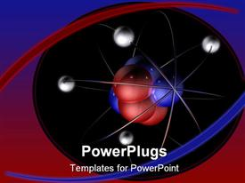 PowerPoint template displaying model of an atom with red and blue protons and neutrons and silver electrons