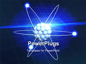 PowerPoint template displaying conceptual electrons orbiting a nucleus