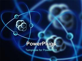 PowerPoint template displaying impression of a atom with electrons in the background.