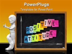 PowerPoint template displaying colorful sticky notes with positive attitude between white arrows with white chalk on school backboard and 3D white figure smiling and pointing his finger up