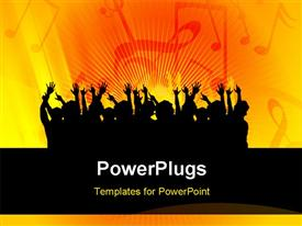 PowerPoint template displaying a number of people putting their hands up with yellowish background