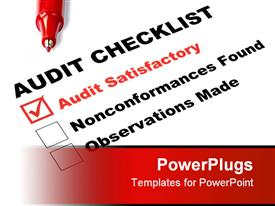 Audit checklist with tick against audit satisfactory template for powerpoint