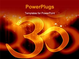 PowerPoint template displaying om aum symbol on an orange background