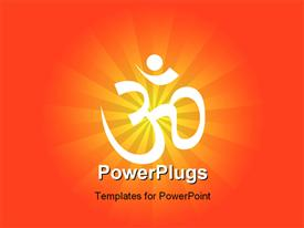 PowerPoint template displaying spiritual thoughts with om over sunburst in the background.