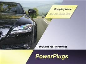 PowerPoint template displaying black car on the highway in the background.