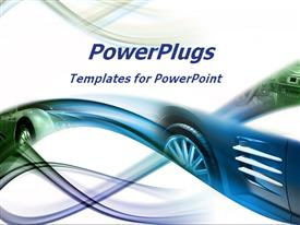 PowerPoint template displaying abstract image of sports car in blue and green on white background