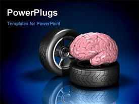 PowerPoint template displaying pink human brain sitting on top of an automotive wheel and tire in the background.