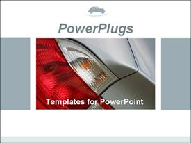 PowerPoint template displaying car tail lights. Ideal template for car presentation for car dealers in the background.