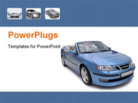 PowerPoint template displaying beautiful Sports car in blue in the background.