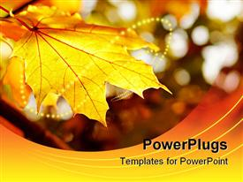 PowerPoint template displaying yellow maple leaf with autumn colored background and string of yellow lights
