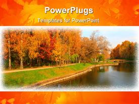 Autumn in city park with river at October powerpoint design layout