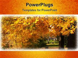 PowerPoint template displaying beautiful depiction of an autumn season on trees in a park
