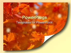 PowerPoint template displaying curled corner of page depicting autumn leaves