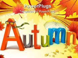 PowerPoint template displaying word autumn with colorful letters. 3D concept in the background.