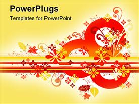 PowerPoint template displaying abstract autumn red and yellow floral designs on a yellow background