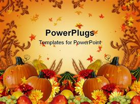 PowerPoint template displaying thanksgiving harvest orange background with fall leaves, pumpkins, mum flowers, grapes, apples and gourds