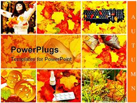 Set from six different images in autumn style powerpoint template