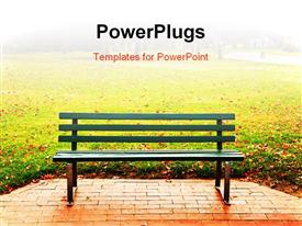 PowerPoint template displaying a bench in the park with blurred background